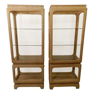 Vintage Rattan Etageres with Glass Shelves