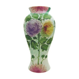 Large Hand Painted Bristol Glass Vase