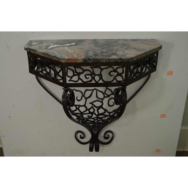 Art Deco Oscar Bach Style Iron Marble Top Wall Console w/ Mirror - Image 7 of 10
