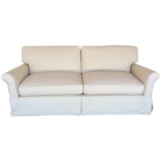 Slipcovered Roll Arm Sofa in Belgian Linen