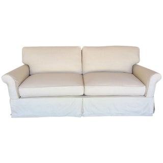 Slipcovered Roll Arm Sofa in Belgian Linen