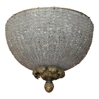 """C.1890 Antique """"Napoleon Iii"""" French Beaded Crystal Chandelier/ Dome With Gilt Bronze"""