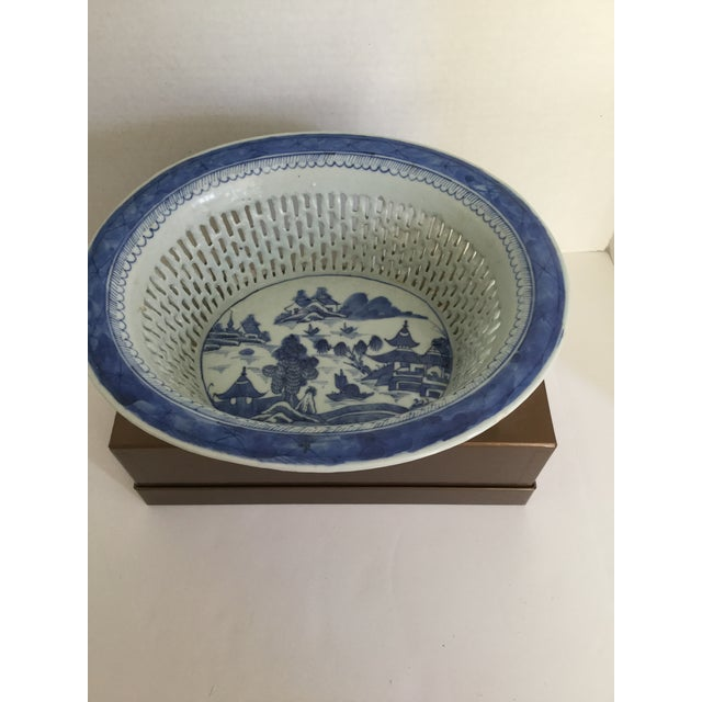 Chinese Canton Blue & White Basket - Image 3 of 7