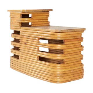 Paul Frankl 2-Tiered Rattan End Table