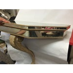 Image of Single Wooden Leg Mirrored Wall Moun Console Table