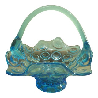 Blue Glass Handled Basket with Dot Design