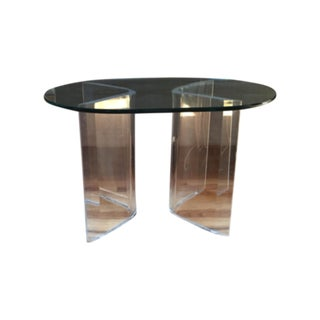 Vintage Lucite and Glass Side Table