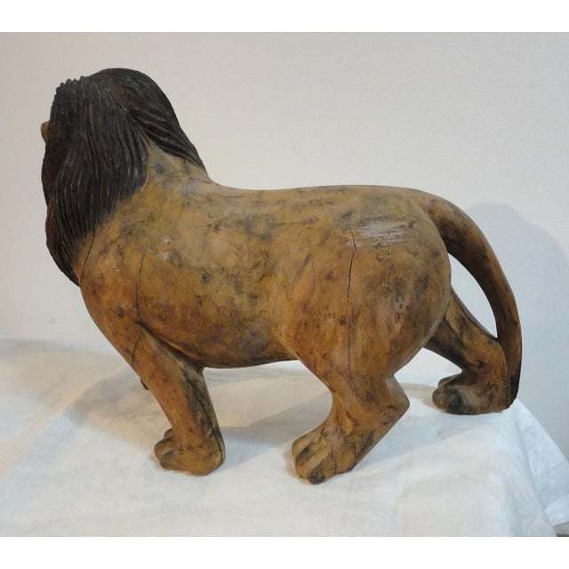 Pair of 19th Century Monumental Hand Carved & Painted Table Top Lions - Image 3 of 10