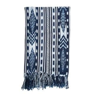 Guatemalan Indigo & White Ikat Blanket