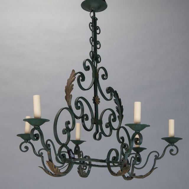 French 6-Light Green Wrought Iron Chandelier - Image 2 of 5