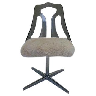 Lucite and Faux Fur Swivel Desk Chair