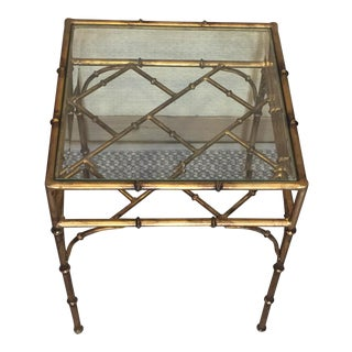 Faux Bamboo Gold Metal Glass Top Side Table