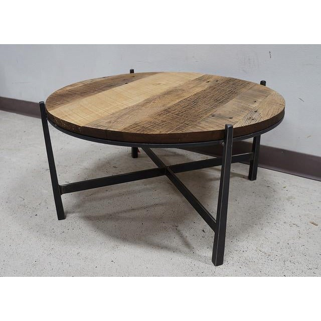 Bithlo Reclaimed Wood Top Round Industrial Coffee Table: Modern Reclaimed Barnwood Round Industrial Iron Base