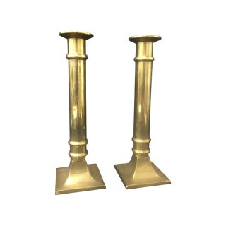 Brass Column Candleholders - Pair