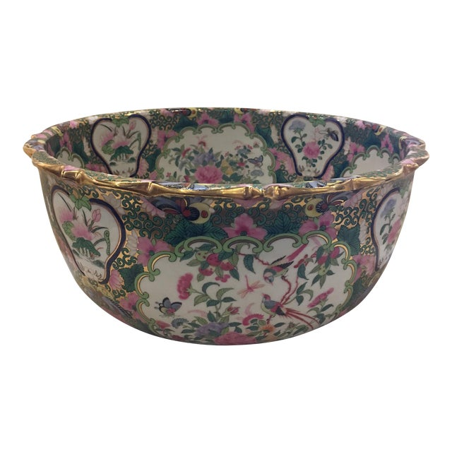Chinese Canton Style Famille Rose Porcelain Punch Bowl - Image 1 of 7