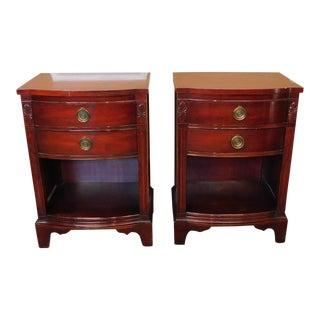 Mahogany 2 Drawer Bedroom Nightstands - Pair