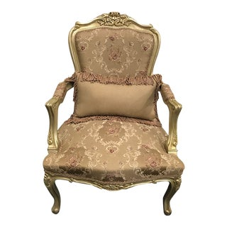 Handmade French Style Gilded Chair With Pillow