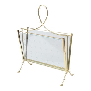 1940s Italian Brass Magazine Rack with Hand-Cut Starburst Glass Panels