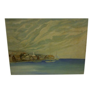 "Original Painting on Board, ""Village by the Sea"""