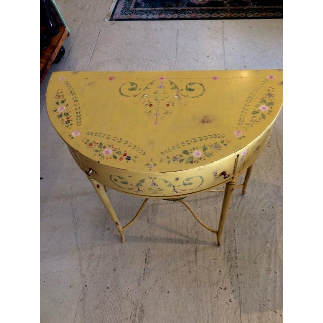Hand-Painted French Demilune Console - Image 3 of 8