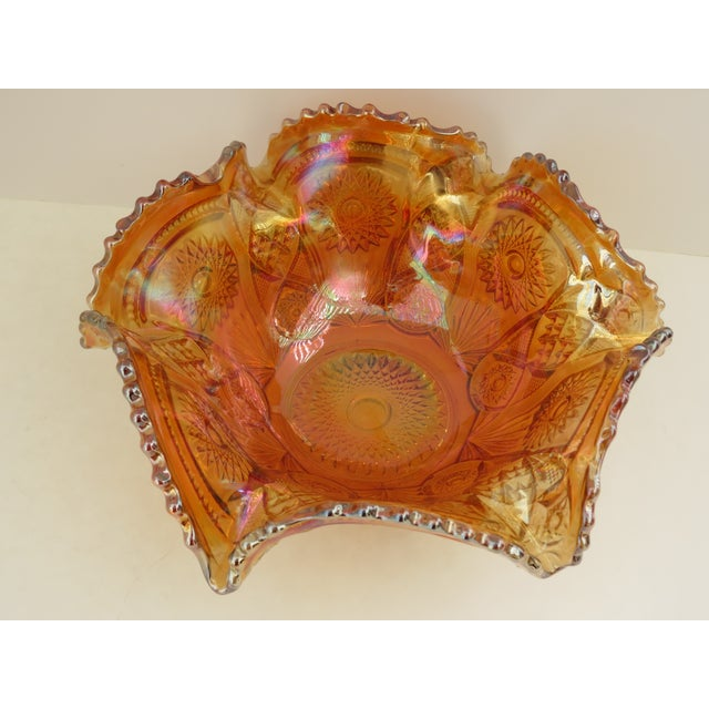Imperial Glass Co. Marigold Ruffled Glass Bowl - Image 4 of 6