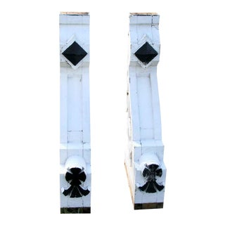 Painted White Corbels - A Pair