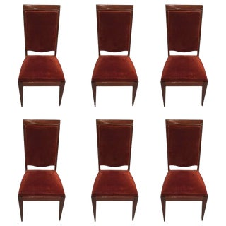 Gaston Poisson French Art Deco Dining Chairs - Set of 6