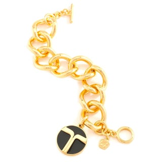 Trina Turk Gold Link Toggle Bracelet in Black