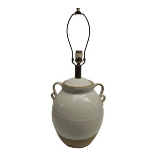 Large Round Glazed Pottery Lamp
