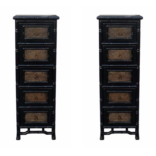 Black Rattan Bamboo 5 Drawers Chests - A Pair - Image 1 of 6