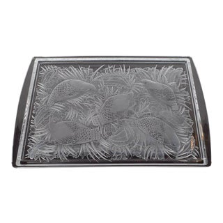 Lalique Art Deco Crystal Tray with Birds and Foliate Motifs in Perdrix Pattern