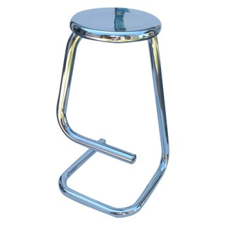 Modern Italian Sculptural Chrome Stool
