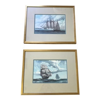 Marine Art Vintage Gordon Grant Watercolor - Prints - a Pair