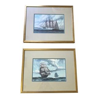 Marine Art Vintage Gordon Grant Watercolor - Prints - a Pair