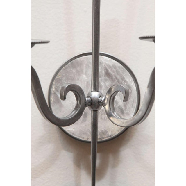 Pewter and Rock Crystal Sconces - Image 5 of 9
