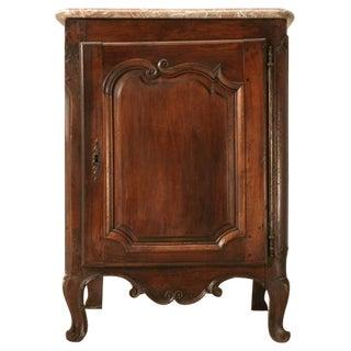 18th C. French Walnut Louis XV Cupboard w/Original Marble Top