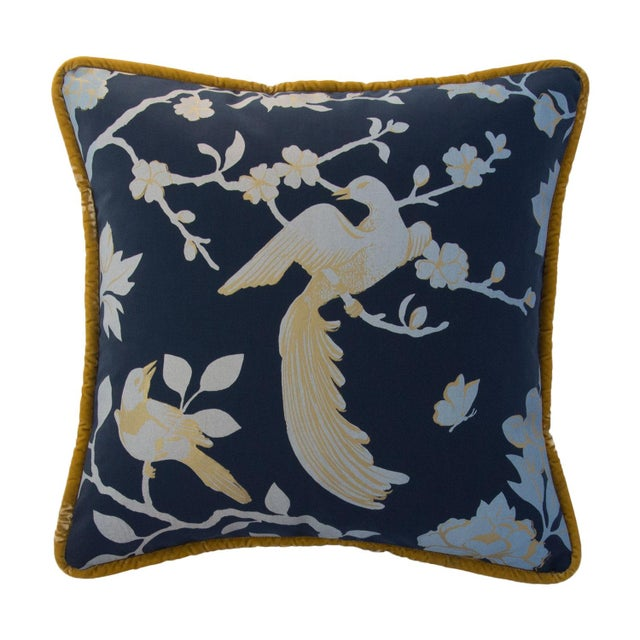 "Image of Bird Song Pillow Midnight 19"""