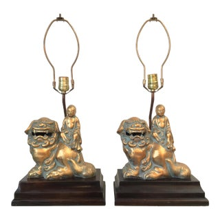 Gilded Foo Dog Lamps - A Pair
