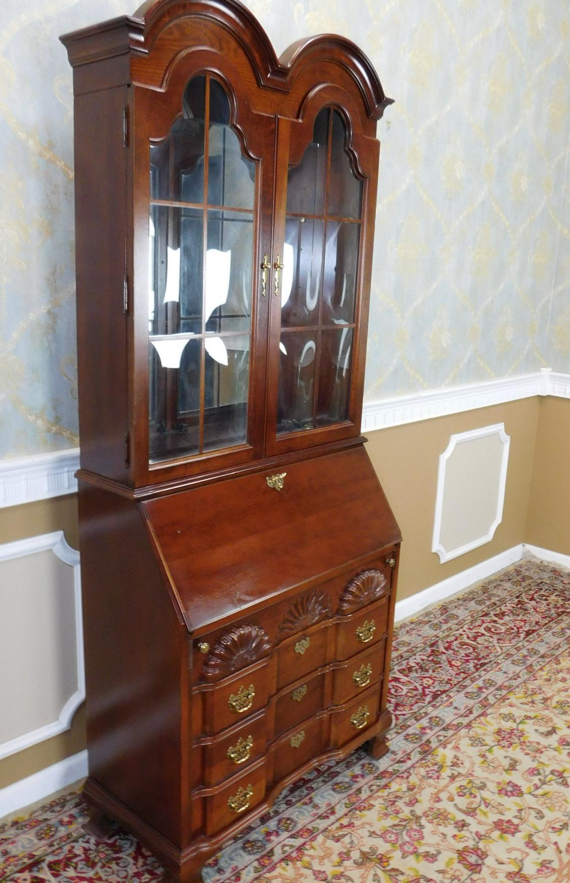 Jasper Cabinet Company Cherry Governor Winthrop Secretary Desk   Image 4 Of  10