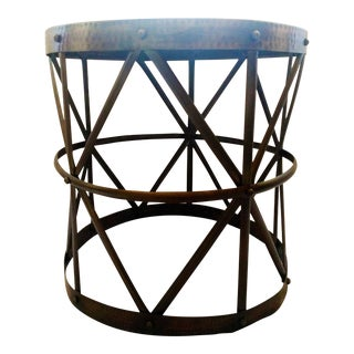 Hammered Bronze Drum Side Table