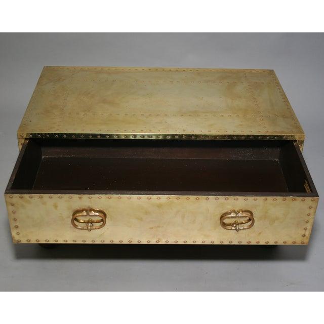Sarreid Vintage 1970 Brass Clad Trunk Coffee Table