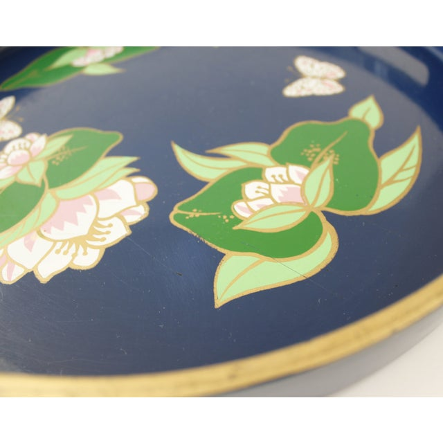 Vintage Blue Lacquered Lotus Flower Serving Tray - Image 5 of 6