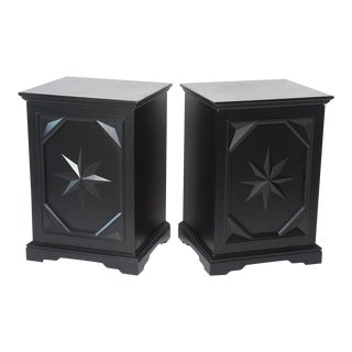 Pair of American Modern Black Lacquer Cabinets