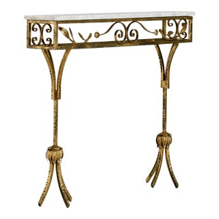 French Gilt Iron Wall Hung Console with Marble Top
