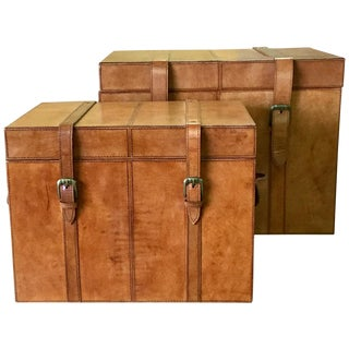 Leather Storage Trunk Boxes - A Pair