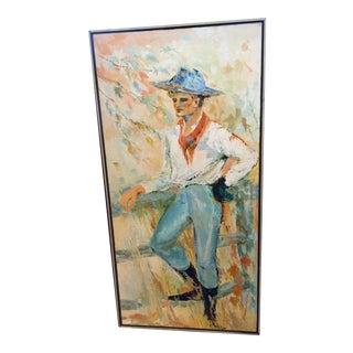 Vintage Cowboy Oil Painting