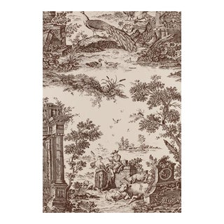 Schumacher Vintage Williamsburg Collection Jones Toile Wallpaper in Sepia Double Roll