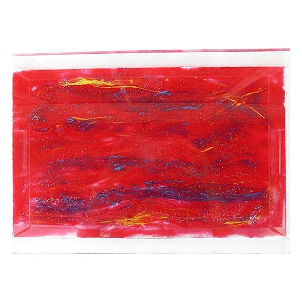 Image of Lucite Tray With Abstract Painted Bottom