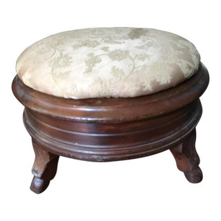 Carved Wooden Antique Foot Stool With Storage