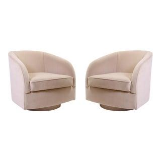 Mid-Century Swivel Chairs in Sand Velvet